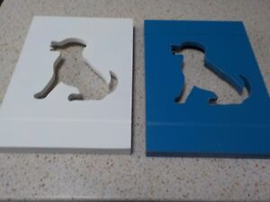 Wood art set of two (2) white and blue dog silhouette dog wall hangings