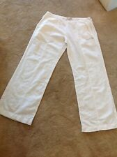 Weird Fish White Linen Mix Trousers Size L (fits size 14).