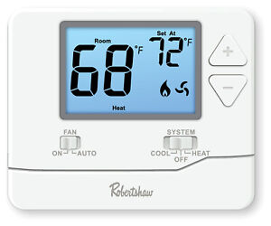 Robertshaw RS8110 Digital Non-Programmable Thermostat, Single Stage - 1 H / 1 C