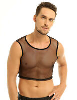 Mens Sleeveless Fishnet Mesh Sheer Vest Muscle Tank T-shirt Crop Top Clubwear