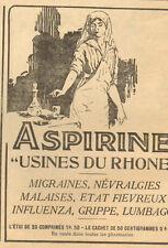 ASPIRINE USINES DU RHONE INFIRMIERE NURSE PUBLICITE 1917