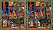 "Pre-cut 23"" x 43"" Panel Mythical Jungle Y2134-3M by Laurel Burch for Clothworks"