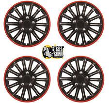 "Volkswagen Beetle 15"" Lightning Matt Black & Red Universal Car Wheel Trim Covers"