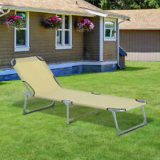 Outsunny Camping Light Weight Sun Lounger Portable Folding Chaise Chair Patio