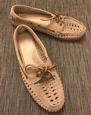 """FRYE """"Quincy"""" woven 100% leather boat shoes women's size 7.5M $158"""