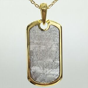 24K Yellow Gold Plated Muonionalusta Meteorite Pendant Etched Military Tags