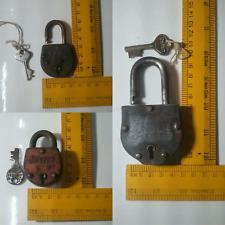 Vintage Iron 3 Padlock Lock & Key