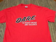 DARE To Resist Drugs And Violence Medium Red T Shirt Hardcore Punk Rock