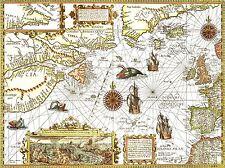 ART PRINT POSTER MAP OLD NORTH ATLANTIC OCEAN EUROPE AMERICA NOFL0702