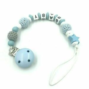 Personalised Boy name Baby Pacifier Clips Dummy Clips Baby Feeding Wooden beads