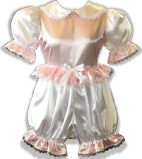 """Esther"" CUSTOM FIT Lacy Pink & White Satin Adult BABY LG Sissy Romper LEANNE"