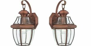 Quoizel NY8316AC Newbury 1 Light Outdoor Wall Lantern Fixture, Copper - 2 Pack