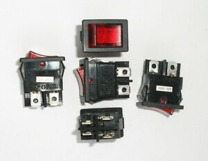 5x Red DPST Rocker Switch 6A 250V / 10A 125V Snap-In, on-off, car. AU STOCK!