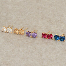Rainbow crystal Crystal 18K Yellow Gold Filled Womens Stud Earrings