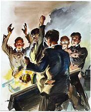 Originalzeichnung farbig Rasselbande? Wilhelm Eigener 50er Jahre Illustration