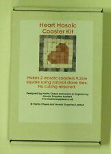 Mosaic kit -  2 heart design coasters in natural stone. Designed by Martin Cheek