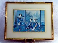 VINTAGE SIGNED PAGE WOOD JAPANESE GEISHA ART CIRCA 1975 JAPANESE PRINT