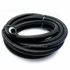 """AN -16 AN16 7/8"""" 22MM Black NYLON Braided RUBBER Fuel Oil Hose Pipe 1/2 Metre"""