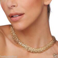 Technibond Diamond Cut Tapestry Necklace 14K Yellow Gold Clad Silver 925