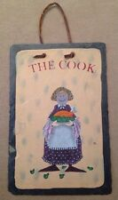 """'The Cook' Slate Wall Plaque, Hand-Painted, 12x8""""H, Kitchen Chef, Adorable!"""