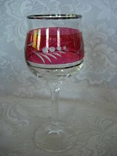Impressive Ruby Red Stained Glass Cut-to-Clear Wine Goblet-Platinum Band - NEW