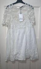 ZARA OFF-WHITE CROCHET MINI SHORT SLEEVES DRESS SIZE XL BNWT