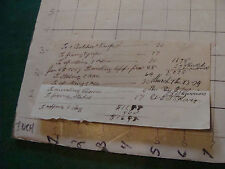 vintage paper: 1800's hand written bill - fixing and sharpening axe, knife, etc