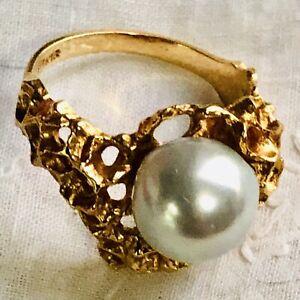 Vintage 18K Rose Gold Brutalist South Sea Pearl Ring Pearl 6.8 Grams SZ 6.5 MCM