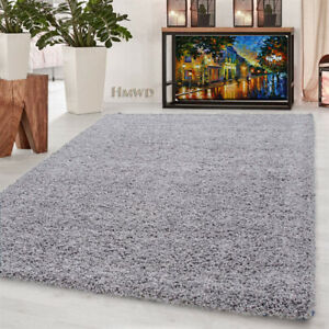 Silver Grey Thick Pile Large Shaggy Rugs Runner Non Slip Living Room Floor Mat