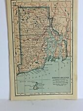 """Antique OLD map, RHODE ISLAND in 1921, Great Shape. Ready to be Framed. 9"""" By 6"""""""