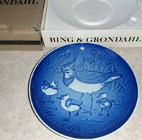 Bing & Grondahl 1988 MOTHERS DAY PLATE Killdeer Birds Chicks Mors Dag Copenhagen