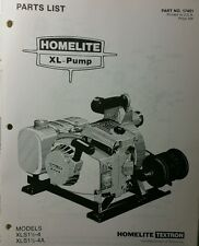 Homelite XL-Pump Parts Manual 8pg XLS1 1/2-4 & 4A Trash Pond Water Fire Suppress
