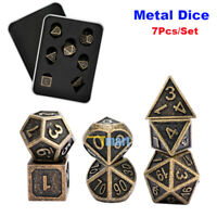 7Pcs/Set Bronze Metal Polyhedral Dice DND RPG MTG Role Playing and Tabletop Game