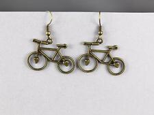 """bronze Bike Bicycle dangle earrings pendant 1 5/8"""" long lightweight comfortable"""