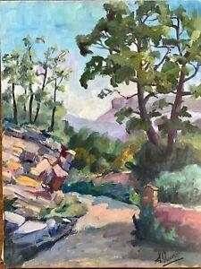 Grand Tableau de Suzanne Ouvrier Paysage vers Cassis Provence Alpes Côte d'Azur