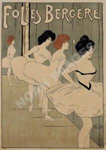 Folies Bergere Ballet vintage theatre poster repro 16x24