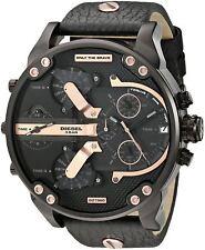 New DIESEL DZ7350 Mens Watch Mr Daddy 2.0 Black Leather Rosegold Chronograph