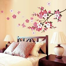 Cute Peach Blossom Tree Sakura Butterfly Wall Decal Sticker Vinyl Art Home Decor