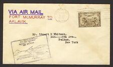 Canada Airmail 1st Flight Fort McMurray - Aklavik 1929 airplane kayak cachet