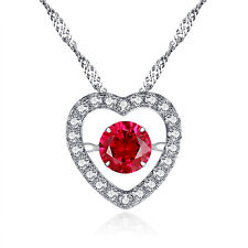 Sterling Silver Round CZ Red Heart Style Dancing Necklace Ruby Pendant For Women