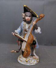 2873* figurine porcelaine meissen singe monkey musician contre basse ancien