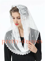 Floral Embroided Tulle Lace Mantilla Veils for Church HeadCover Latin Mass Black