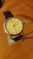 orologio uomo Animoo datario bracciale pelle nero cassa acciaio stile retro'