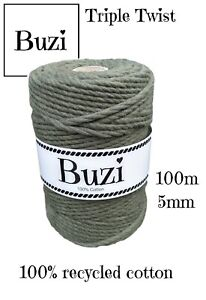 Macramé Cord String Triple Twisted 100% Recycled Soft Cotton MOSS GREEN 100m