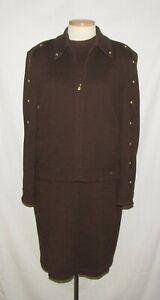 St John 4pc Brown Santana Knit Bomber Jacket, Top, Skirt & Pants Set 14/L/12/12
