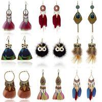 Elegant BOHO Feather Crystal Owl Women Ear Hook Drop Dangle Earrings Jewelry HOT