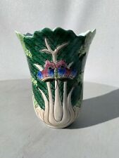Vintage Chinese Porcelain Bok Choy with Butterfly Vase marked