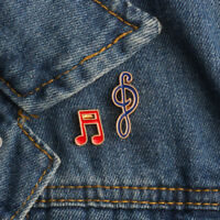 2Pcs Musical Note Enamel Brooches Pins Badges Cute Brooch Clothes Decoration