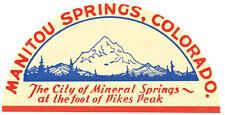 Manitou Springs  Colorado  CO   Vintage Looking Travel Decal Label  Sticker