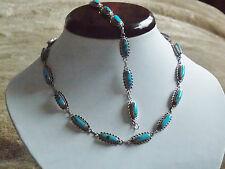 Spectaclar Sterling Silver & Turquoise Necklace & Bracelet Set